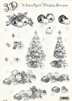 Xmas Tree / Baubles / Presents Die Cut Sheet - 3 Projects - 637  . *