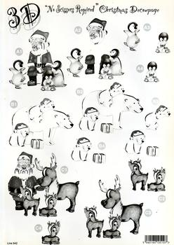 Father Christmas / Santa and Penguins / Polar Bear / Santa and Reindeers - ** Monochrome / Black & White ** Christmas themed Die Cut Sheet - 642 .