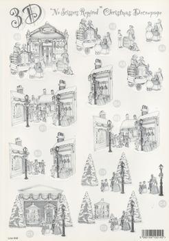 Christmas Gift Shop & Carol Singers** Monochrome / Black & White ** Christmas themed Die Cut Sheet - 646 .