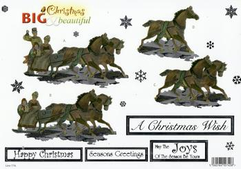 Horse and Carriage with Snow Flakes **FREE MATCHING BACKING SHEET** - - 774 . *