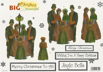 FREE MATCHING BACKING - Holographic Foiled Carol Singers with Sentiments - Merry Christmas to all Jingle Bells Merry Christmas - 776 .