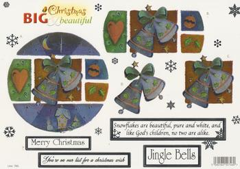 FREE MATCHING BACKING - Holographic Foiled Christmas Bells and Snow Flakes with sentiments - 780 .