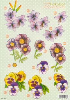 Polka Dot Flowers - PANSIES - (3 projects) 993 .