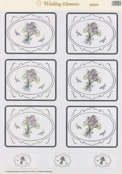 A4 Wedding Flowers - Die Cut Topper - E1019 .