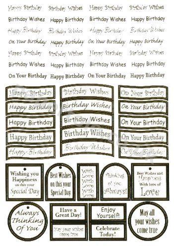 Birthday - 47  Gold Die Cut Birthday Messages 3d Card Art papertole.co.uk