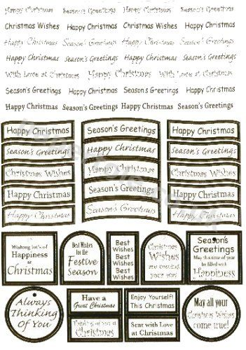 Christmas- 47  Silver Die Cut Christmas Messages RRP £1.00 3d Card Art papertole.co.uk