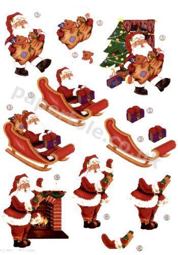 Santa - Die Cut Sheet - line 428 3d Card Art papertole.co.uk