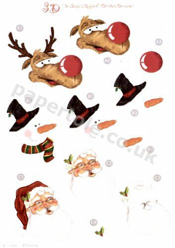 Santa, Snowman and Reindeer Die Cut Sheet 429 - OUT OF STOCK 3d Card Art papertole.co.uk