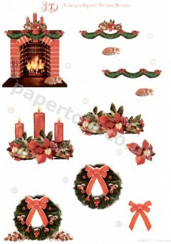 Xmas Fire, Wreath and Candles Die Cut Sheet 431 3d Card Art papertole.co.uk