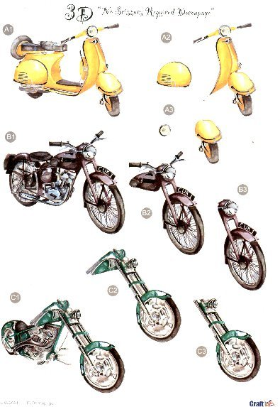 Male Die Cut Sheet - Bikes 3 push out projects  448 Die Cuts papertole.co.uk