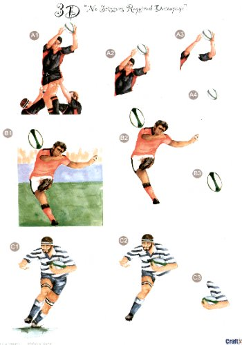 Male Die Cut Sheet - Rugby 3 push out projects   453 Die Cuts papertole.co.uk