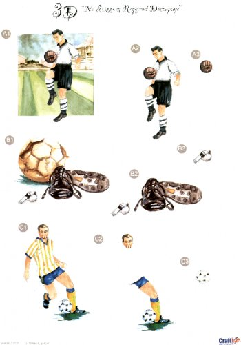 Male Die Cut Sheet - Football 3 push out projects   452 Die Cuts papertole.co.uk