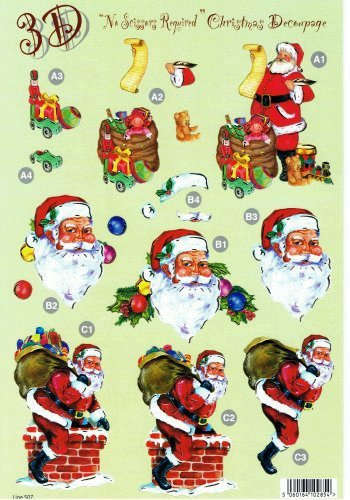 Die Cut Sheet - Santa / Chimney / Toys 507 - OUT OF STOCK 3d Card Art papertole.co.uk