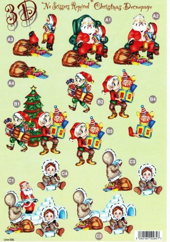 Die Cut Sheet - Father Xmas / Elves / Igloo  506 3d Card Art papertole.co.uk