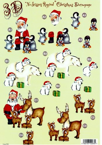 Die Cut Sheet - Santa and his Animals 505 3d Card Art papertole.co.uk