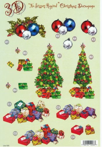 Die Cut Sheet - Xmas Tree / Baubles / Presents - 500  New Prints papertole.co.uk