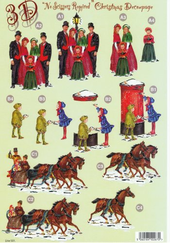 Die Cut Sheet - Xmas Choir / Sleigh / Letter - 501  3d Card Art papertole.co.uk