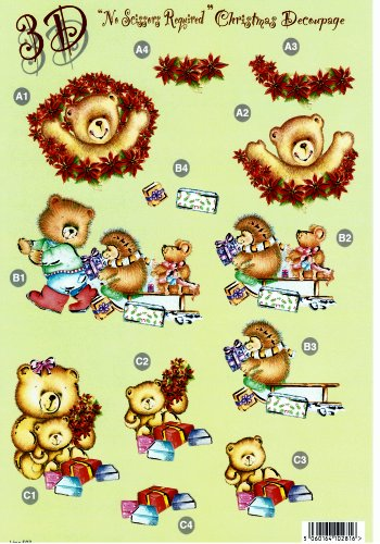 Die Cut Sheet - Xmas Teddy / Sleigh / Presents  503   OUT OF STOCK 3d Card Art papertole.co.uk