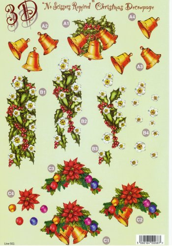 Die Cut Sheet - Christmas Bells and Holly - 502 - 3d Card Art papertole.co.uk