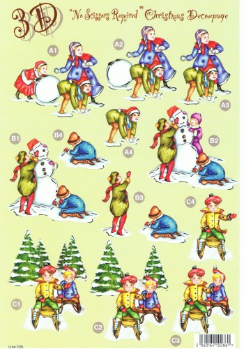 Die Cut Sheet - Christmas Snowman and Sleigh 508 Die Cuts Silver Foil Highlights