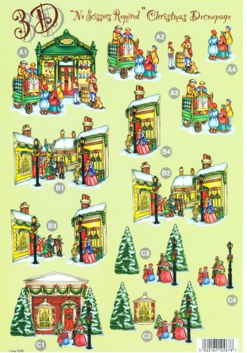 Die Cut Sheet - Christmas Street Scenes 509 3d Card Art Silver Foil Highlights