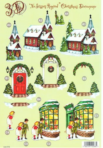 Die Cut Sheet - Christmas Church / Toy Shop 510 Die Cuts Silver Foil Highlights