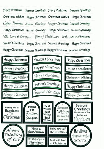 Xmas - 47 Green Letters White Background Die Cut Captions   3d Card Art Quality push out captions