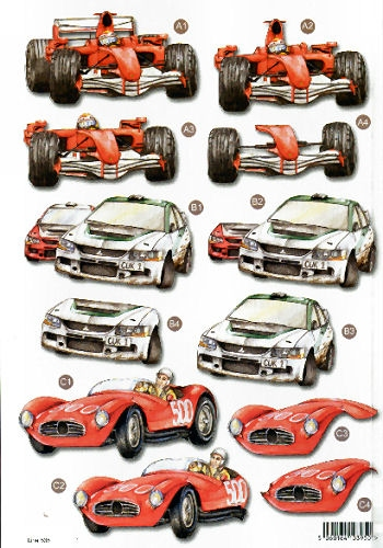 New MaleDie Cuts - Racing Cars   538  - OUT OF STOCK Die Cuts AS SEEN ON T.V