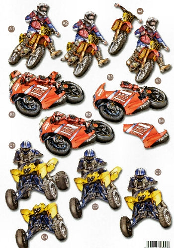 New Male Die Cuts - Racing Bikes539 Die Cuts AS SEEN ON T.V