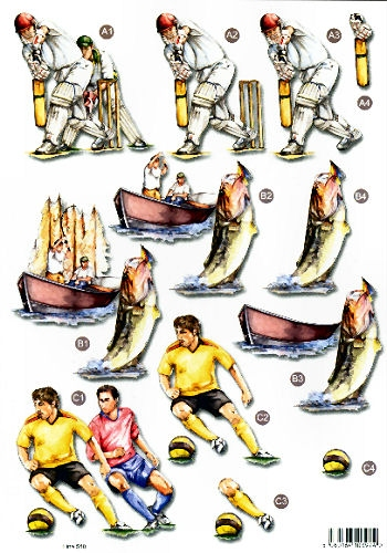New Male Die Cuts - Cricket, Fishing, Football 540 Die Cuts AS SEEN ON T.V