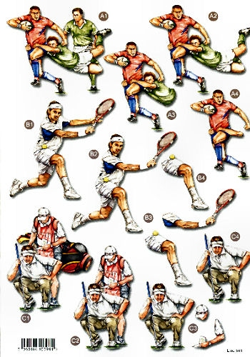 New Male Die Cuts - Rugby, Tennis, Golf - 541 Die Cuts AS SEEN ON T.V