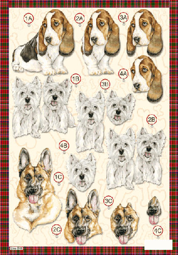 Die Cut Dogs - Bassett Hound line 619   OUT OF STOCK Die Cuts papertole.co.uk