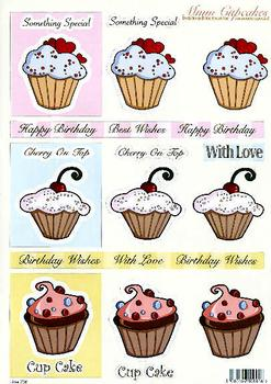 **Cup Cake Toppers** - 3 Brand New Design's - DIE CUT  736 Die Cuts papertole.co.uk