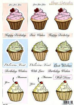 Cup Cake Toppers - 3 Designs Per sheet - DIE CUT  737 Specials papertole.co.uk