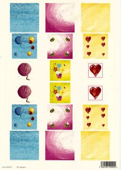 A4 Die cut - 3D Toppers Balloons, Flowers, Hearts 241 . *