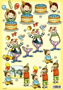 Boy's Birthday Party with Clown Cake and Party Games - 3 DIE CUT Project - 670 . *