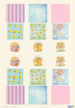 A4 Die cut - 3D Toppers - Teddies Starts Stripes Flowers 222 . *