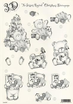 Die Cut Sheet - Monochrome / Black and White Teddy and Christmas Tree - 641 . *
