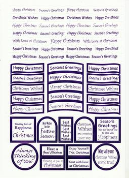 Christmas- Lilac Die Cut Christmas Messages .  Die-cut captions