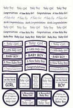 New Baby Girl & Baby Boy Lilac Foiled Lettering on White Card .  Die-cut captions