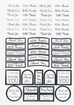Thank you Sentiments - Silver Foiled Lettering on White Card .  Die-cut captions