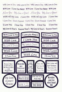 I Love You / Valentine Sentiments - Lilac Foiled Lettering on White Card -