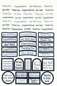 Blue Thank you / Congratulations / Get well - Foiled Lettering on White Card . -