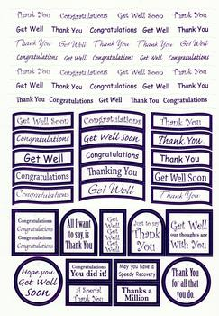 Lilac Thank you / Congratulations / Get Well - Foiled Lettering on White Card - 239ps .  Die-cut captions