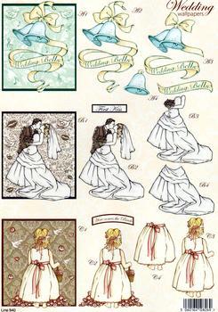 Wedding Die Cut - Bride, Bells & Bridesmaid 840 ss papertole.co.uk