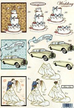 Wedding Die Cut -Wedding Cake, Car & Bride and Groom 841 E papertole.co.uk