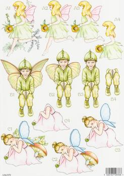 Forever Fairies - Sunflower Fairy, Boy and Fairy with Toadstool 870 . papertole.co.uk