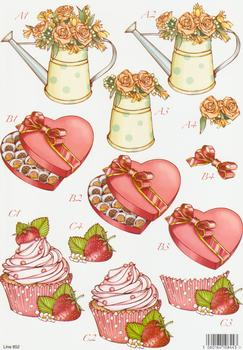 Die Cut - Flower in Watering Can, Box of Chocolates & Cup Cake 852 .. papertole.co.uk