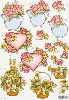 Die Cut - Flowers in Tea-Pot, Flowers & Heart and Basket of Flowers 875  99 papertole.co.uk