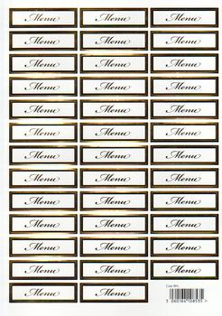 Wedding Die Cut - Menu Caption Sheet in Gold- 861 e RRP £1.20